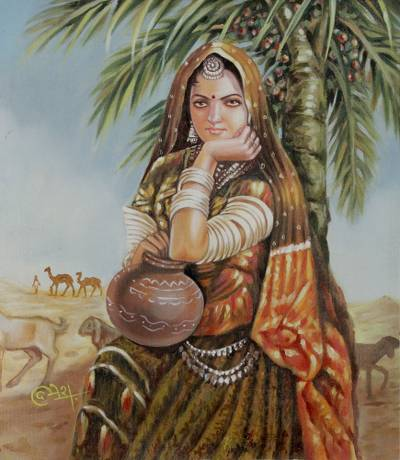 Oil On Canvas Painting Of Indian Woman In Desert Scene Rajasthani Lady