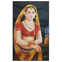 'Rajasthani Beauty V' - Oil on Canvas Portrait of Indian Woman in Traditional Attire