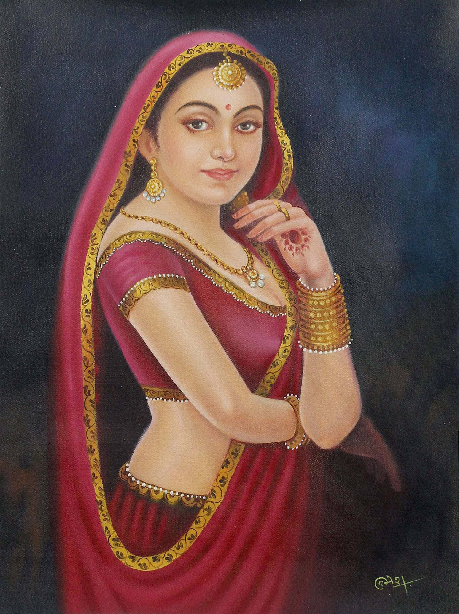 Bollywood Style Oil Painting Of Beautiful Indian Woman Rajasthani Beauty Iv