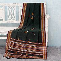Throw blanket, 'Forest Mood' - Gujarat Style Woven Acrylic Throw Blanket in Dark Green