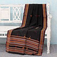 Throw blanket, 'Midnight Mood' - Black, Red, and Yellow Acrylic Throw Blanket from India