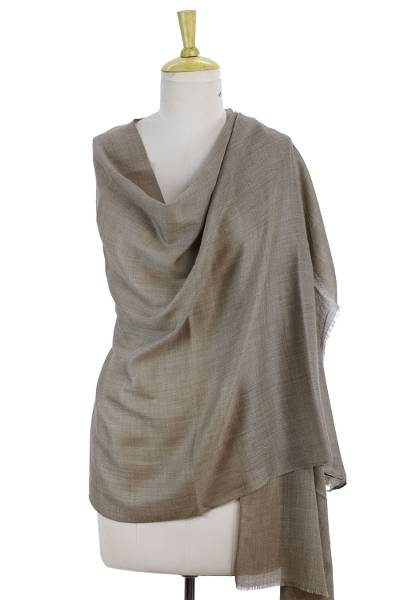 Wool and silk shawl, 'Legendary Brown' - Wool and Silk Blend Shawl Wrap from India