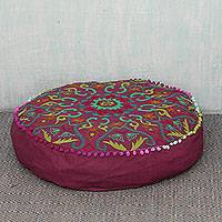 Cotton ottoman cover, 'Festive Pushkar in Burgundy' - Colorful Embroidered Burgundy Cotton Ottoman Cover