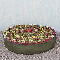 Cotton ottoman cover, 'Festive Pushkar in Olive' - Olive Green Ottoman Cover with Multicolored Embroidery