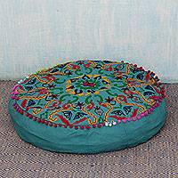 Cotton ottoman cover, 'Festive Pushkar in Teal' - Cotton Ottoman Cover in Teal Green with Embroidery