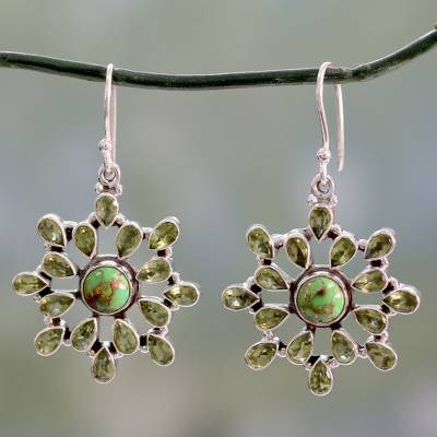 Peridot dangle earrings, 'Verdant Starlight' - Handmade Earrings with Peridot and Sterling Silver