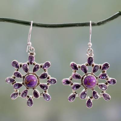 Amethyst dangle earrings, 'Lavender Starlight' - Sterling Silver Dangle Earrings with 6.5 Carats of Amethyst
