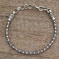 Men's sterling silver chain bracelet, 'Serpent Shadow' - India Fair Trade Men's Sterling Silver Bracelet