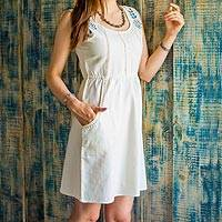 Cotton blend dress, 'Ivory Glamour' - Indian Ivory Cotton Blend Dress with Beaded Embroidery