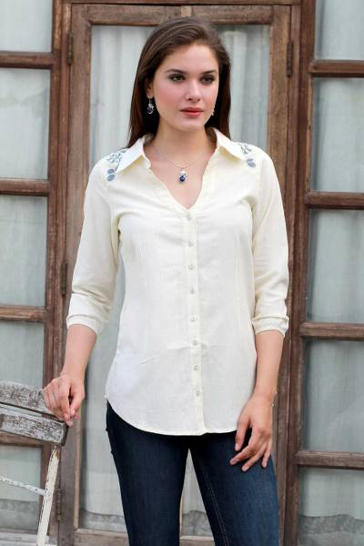 Cotton blend tunic, 'Ivory Relaxation' - Cotton Viscose Blend Tunic in Ivory Plastic Beads from India