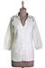 Cotton blend tunic, 'Ivory Relaxation' - Cotton Viscose Blend Tunic in Ivory Plastic Beads from India (image 2c) thumbail