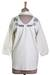 Cotton blend tunic, 'Ivory Relaxation' - Cotton Viscose Blend Tunic in Ivory Plastic Beads from India (image 2d) thumbail