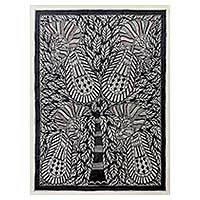 Madhubani painting, 'Love for Nature II' - Black and White Madhubani Style Painting from India