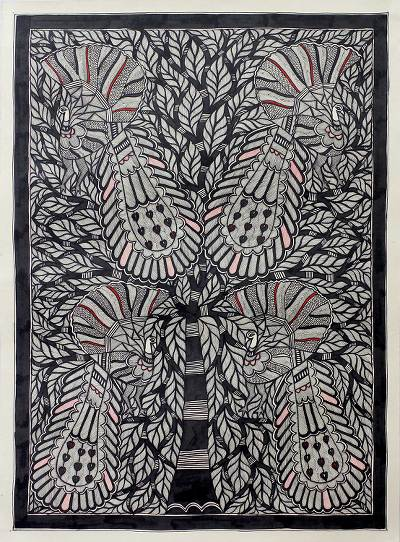 Black and White Madhubani Style Painting from India