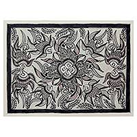 Madhubani painting, 'Underwater Unity' - Original Black and White Indian Folk Art Madhubani Painting