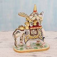 Marble statuette, 'Mughal Expedition' - Royal Elephant and King Hand Painted Marble Statuette
