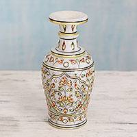 Marble decorative vase, 'Vintage Mughal' - Indian Decorative Vase in Hand Painted Makrana Marble