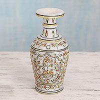 Marble decorative vase, 'Vintage Mughal' - Indian Decorative Vase in Hand Painted Makrana Marble