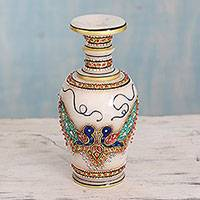 Marble decorative vase, 'Makrana Peacocks' - Hand Painted Decorative Makrana Marble Vase from India