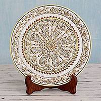 Marble plate, 'Rajasthan Kaleidoscope' - Hand Painted Makrana Marble Decorative Plate with Stand