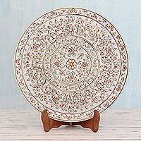 Marble plate, 'Legendary Rajasthan' - Hand Painted Makrana Marble Plate with Gold Leaf Details