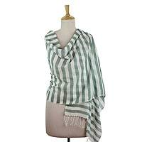 Cotton shawl, 'Casual Pine' - Striped Green and White Cotton Shawl Woven by Hand
