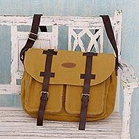 Cotton with leather accents sling bag, 'Intrepid Yellow' - Multi Pockets Mustard Yellow Sling Bag with Leather Accents