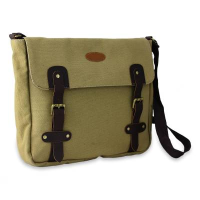 Novica Leather accent cotton messenger bag, Efficient Green