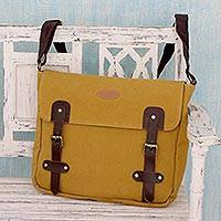 Leather trimmed canvas messenger bag, 'Summer Venture in Mustard' - Mustard Yellow Canvas Messenger Bag with Leather Trim