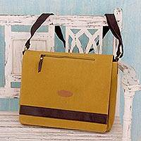Cotton canvas laptop messenger bag, 'Indian Mustard' - Artisan Crafted Mustard Yellow Laptop Messenger Bag