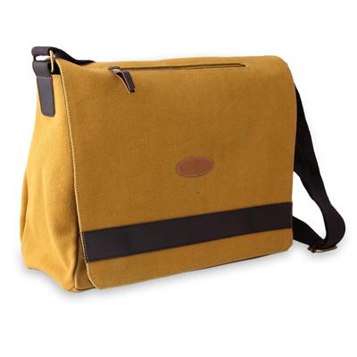 Novica Cotton canvas laptop messenger bag, Indian Green