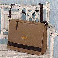 Cotton canvas laptop messenger bag, 'Indian Brown' - Brown Leather Trimmed Cotton Laptop Bag for Women