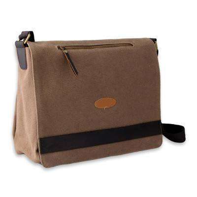 Brown Leather Trimmed Cotton Laptop Bag for Women