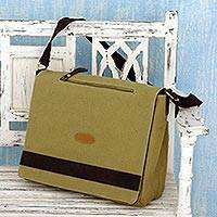 Cotton canvas laptop messenger bag, 'Indian Green' - Women's Cotton Canvas Laptop Bag in Light Olive Green