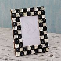 Upcycled computer keys photo frame, 'Monochrome Cyber Connection' (4x6) - Upcycled Computer Keys as Handmade Photo Frame (4x6)