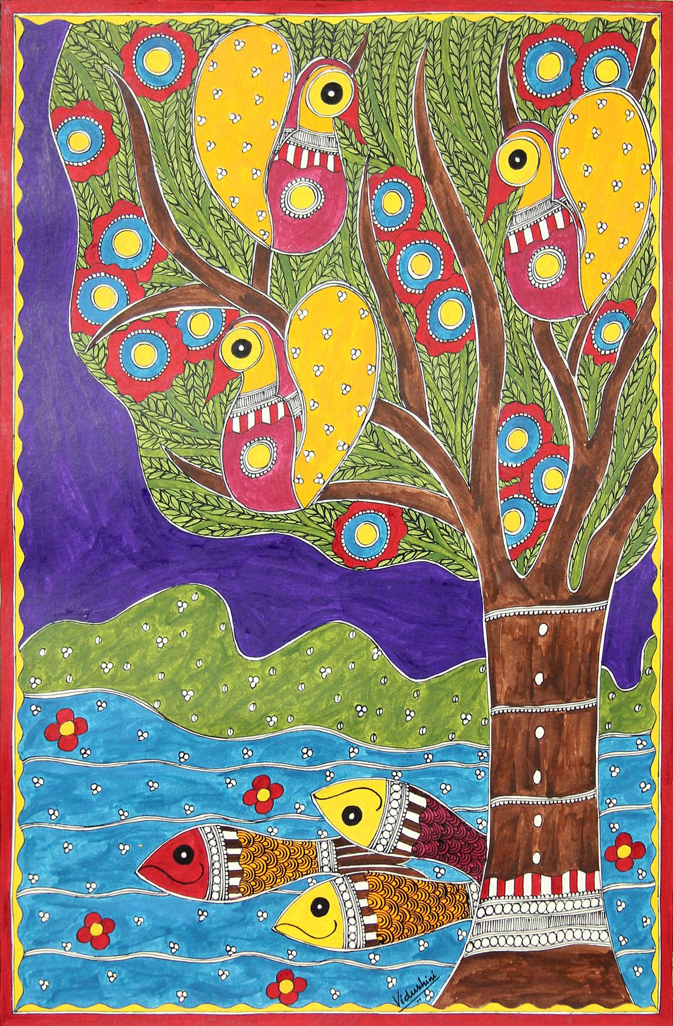 Unicef Uk Market Colorful Madhubani Folk Art Painting From Indian Artist Celebration Of Life