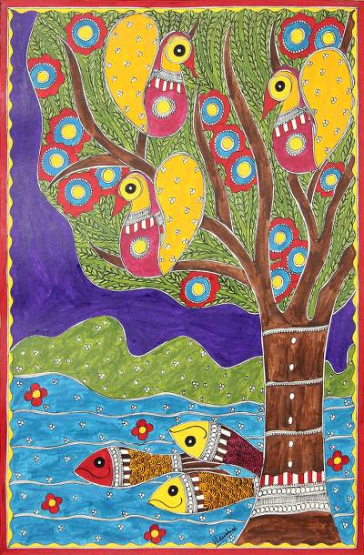 Colorful Madhubani Folk Art Painting from Indian Artist