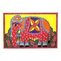 Madhubani painting, 'Festive Elephant' - Colorful Madhubani Folk Art Painting of Indian Elephant