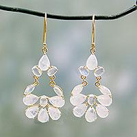 Gold vermeil rainbow moonstone earrings,