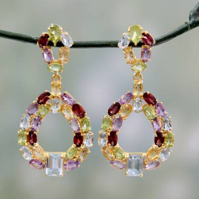 Gold vermeil multi-gemstone earrings, 'Treasure of Jaipur' - Colorful Multi-Gemstone Earrings in 18k Gold Vermeil