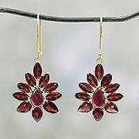 Gold plated garnet dangle earrings, 'Claret Sunburst' - Hand Crafted 18k Gold Plated Earrings with Garnets