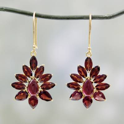 Unicef Uk Market Hand Crafted 18k Gold Plated Earrings With Garnets Claret Tears