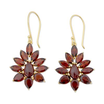Gold plated garnet dangle earrings, 'Claret Sunburst' - Hand Crafted 18k Gold Plated Earrings with Garnets