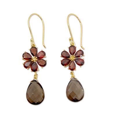 Gold vermeil garnet and smoky quartz earrings, 'Jaipur Allure' - Floral Garnet And Smoky Quartz Earrings in Gold Vermeil