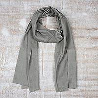 Men's wool and silk scarf, 'Kashmir Olive' - Men's Wool and Silk Scarf Muffler from India