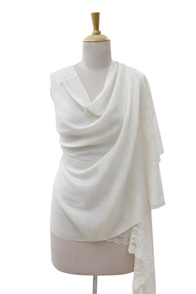 Wool blend shawl, 'Impassioned Kashmir in Cream' - Floral Lace on Cream Wool Blend Shawl Wrap from India