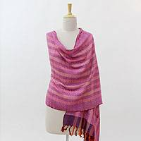 Silk shawl, 'Colors of India' - Multi Colored Hand Woven Silk Shawl Wrap from India