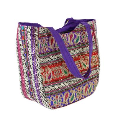 Embroidered shoulder bag, 'Paisley Flair' - Embroidered Red Violet and Blue Handbag from India