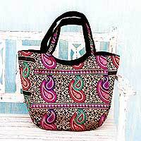 Brocade shoulder bag, 'Double Paisley' - Colorful Paisley Brocade Handbag from Indian Artisan