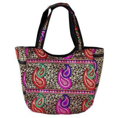 Colorful Paisley Brocade Handbag from Indian Artisan